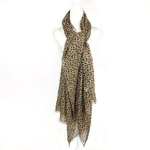 J. CREW Leopard Print 100% Wool Lightweight Scarf